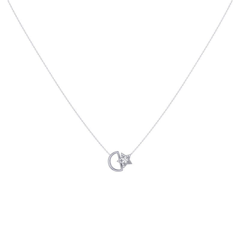 Starkissed Moon Diamond Necklace in Sterling Silver