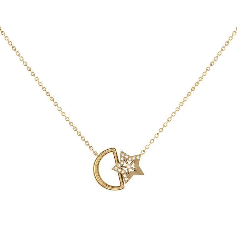 Starkissed Moon Diamond Necklace in 14K Yellow Gold Vermeil on Sterling Silver