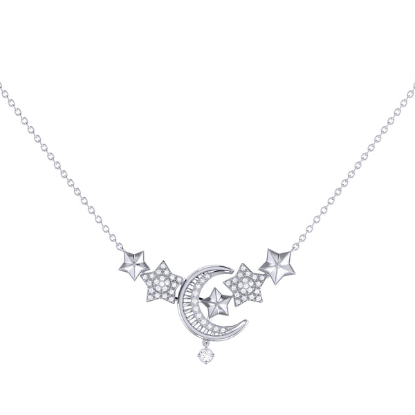 Star Cluster Moon Crescent Diamond Necklace in Sterling Silver
