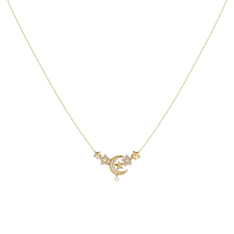 Star Cluster Moon Crescent Diamond Necklace in 14K Yellow Gold Vermeil on Sterling Silver