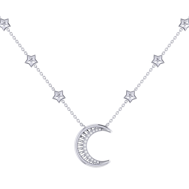 Starry Lane Moon Diamond Necklace in Sterling Silver