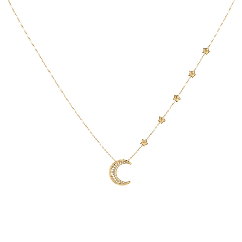 Starry Lane Moon Diamond Necklace in 14K Yellow Gold Vermeil on Sterling Silver