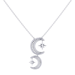 Twin Nights Crescent Diamond Necklace in Sterling Silver