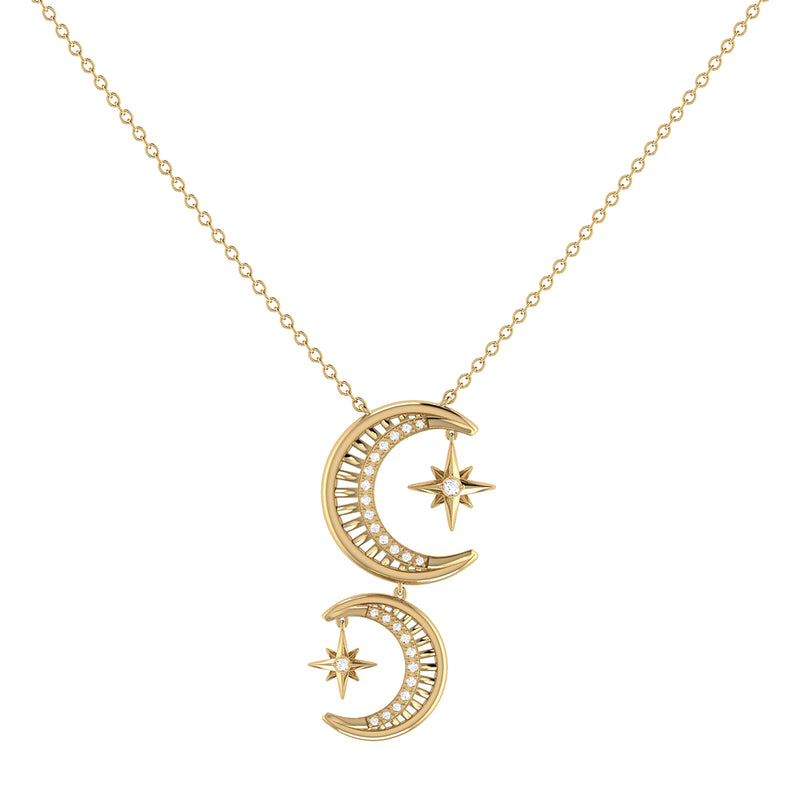 Twin Nights Crescent Diamond Necklace in 14K Yellow Gold Vermeil on Sterling Silver