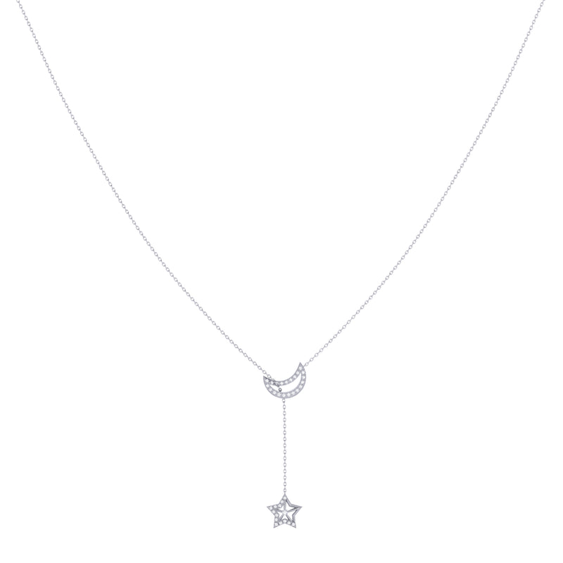 Shooting Star Moon Crescent Diamond Necklace in Sterling Silver
