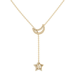 Shooting Star Moon Crescent Diamond Necklace in 14K Yellow Gold Vermeil on Sterling Silver