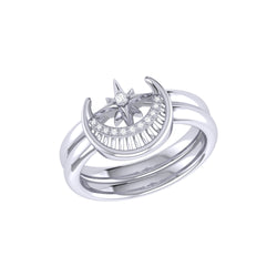 Nighttime Moon Star Lovers Detachable Diamond Ring in Sterling Silver