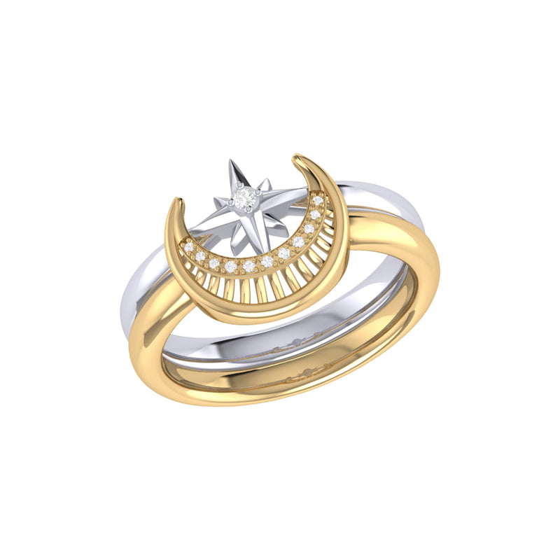 Nighttime Moon Star Lovers Two-Tone Detachable Diamond Ring in 14K Yellow Gold Vermeil on Sterling Silver