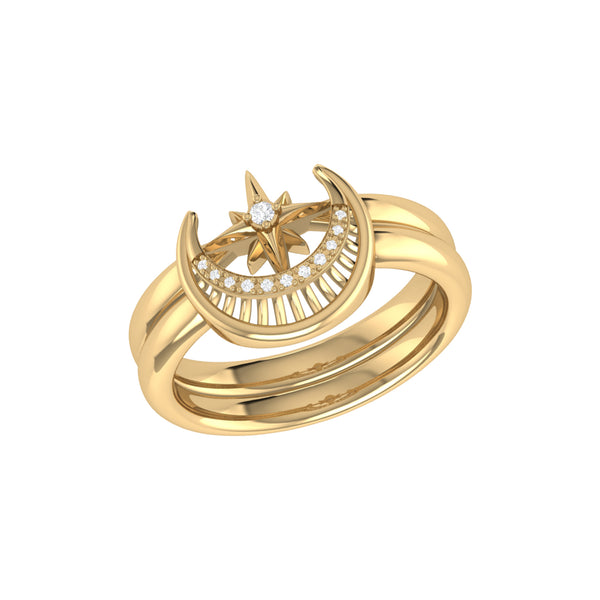 Nighttime Moon Star Lovers Detachable Diamond Ring in 14K Yellow Gold Vermeil on Sterling Silver