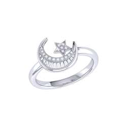 Starkissed Crescent Diamond Ring in Sterling Silver