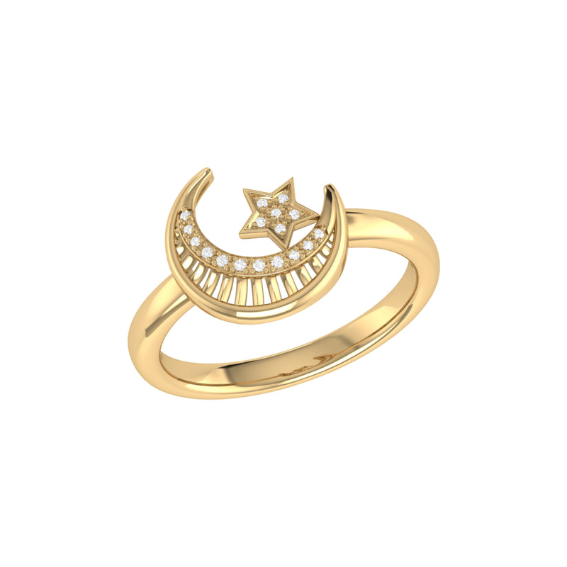 Starkissed Crescent Diamond Ring in 14K Yellow Gold Vermeil on Sterling Silver