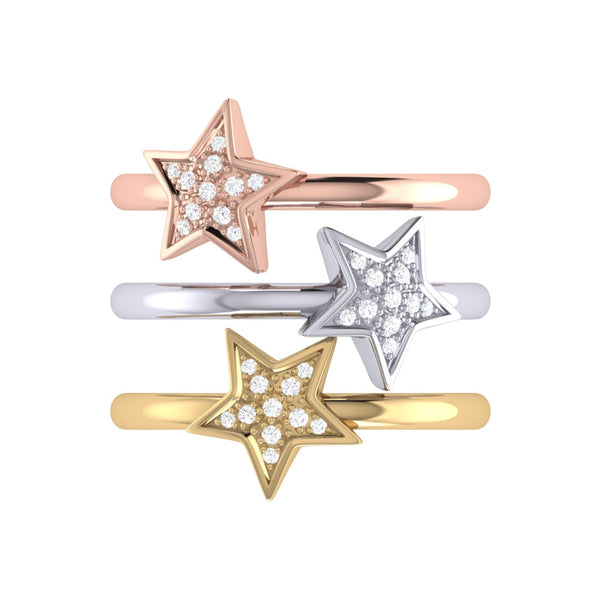 Tri-Color Dazzling Star Detachable Diamond Ring in 14K Gold & Rose Gold Vermeil on Sterling Silver