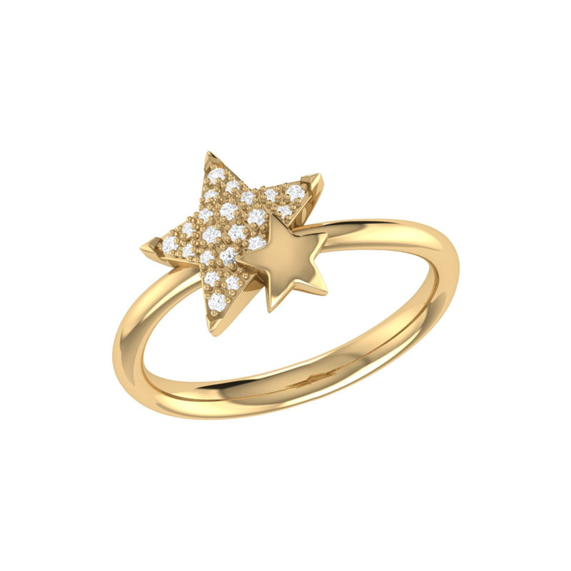 Dazzling Starkissed Duo Diamond Ring in 14K Yellow Gold Vermeil on Sterling Silver
