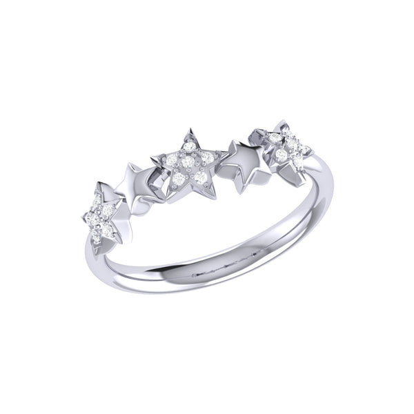 Sparkling Starry Lane Diamond Ring in Sterling Silver