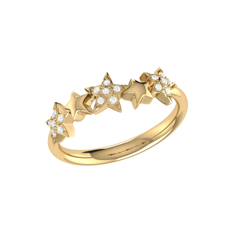 Sparkling Starry Lane Diamond Ring in 14K Yellow Gold Vermeil on Sterling Silver