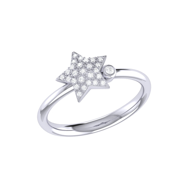 Dazzling Star Bezel Diamond Ring in Sterling Silver