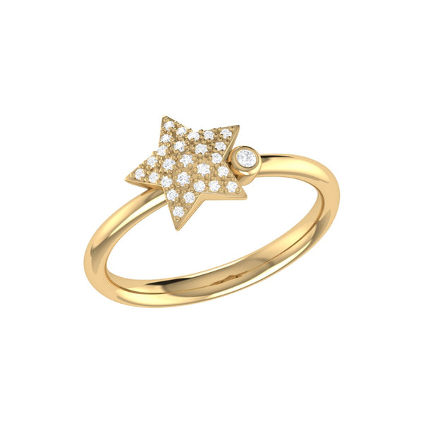 Dazzling Star Bezel Diamond Ring in 14K Yellow Gold Vermeil on Sterling Silver