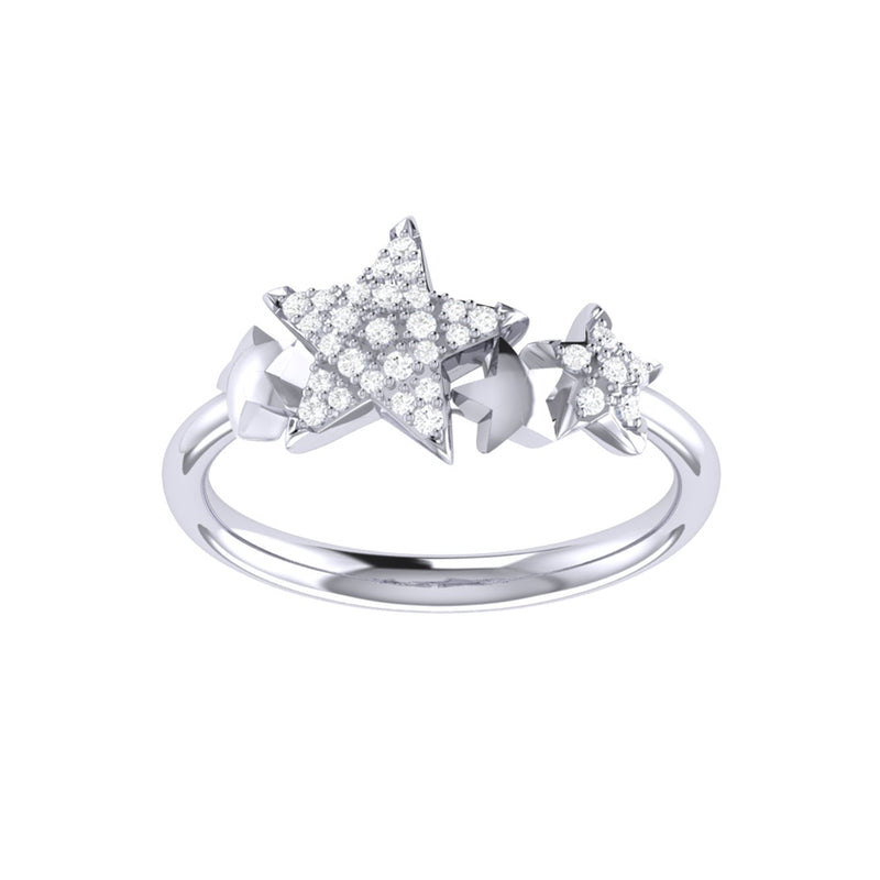 Dazzling Star Cluster Diamond Ring in Sterling Silver