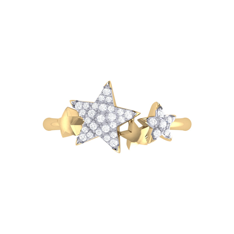 Dazzling Star Cluster Diamond Ring in 14K Yellow Gold Vermeil on Sterling Silver