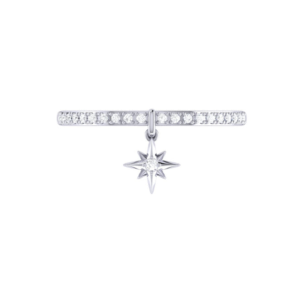 Little North Star Diamond Charm Ring in Sterling Silver