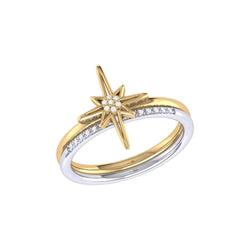 North Star Detachable Two-Tone Diamond Ring in 14K Yellow Gold Vermeil on Sterling Silver