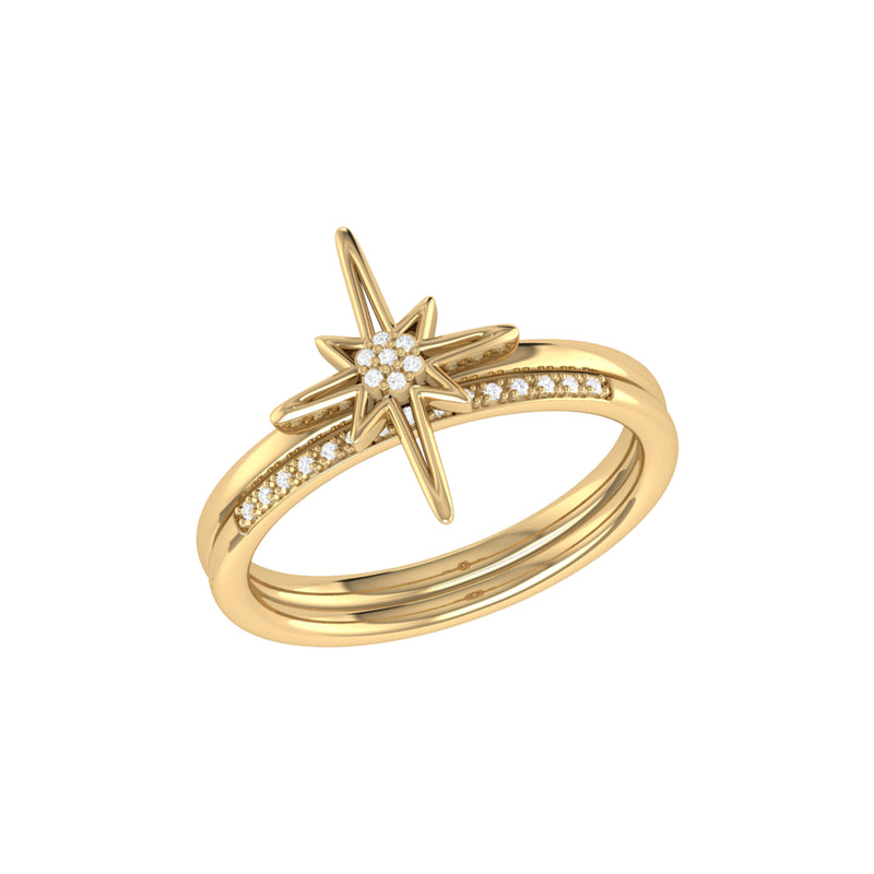 North Star Detachable Diamond Ring in 14K Yellow Gold Vermeil on Sterling Silver