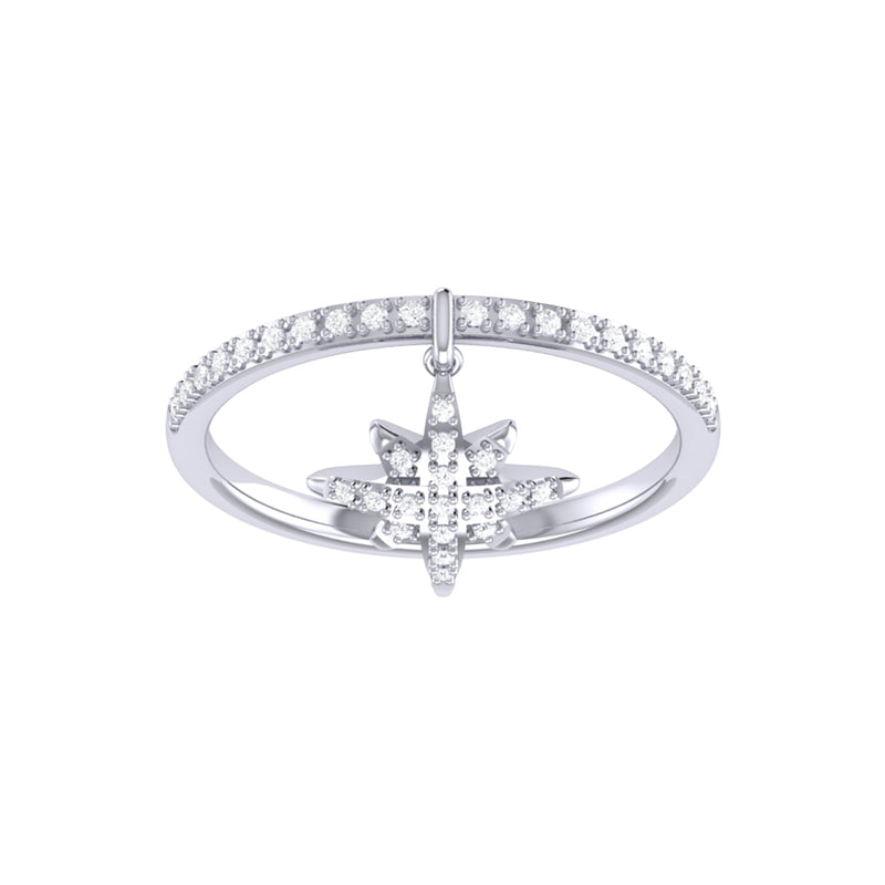 North Star Diamond Charm Ring in Sterling Silver