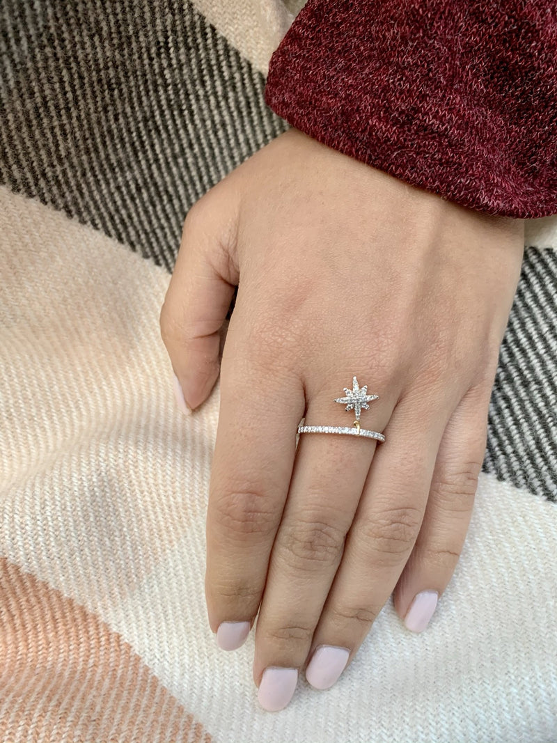 North Star Diamond Charm Ring in 14K Yellow Gold Vermeil on Sterling Silver