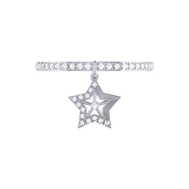 Lucky Star Diamond Charm Ring in Sterling Silver