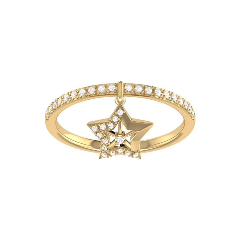 Lucky Star Diamond Charm Ring in 14K Yellow Gold Vermeil on Sterling Silver