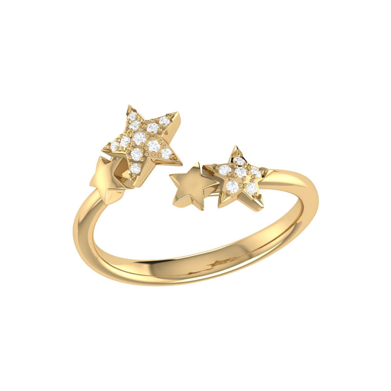 Dazzling Star Couples Diamond Open Ring in 14K Yellow Gold Vermeil on Sterling Silver