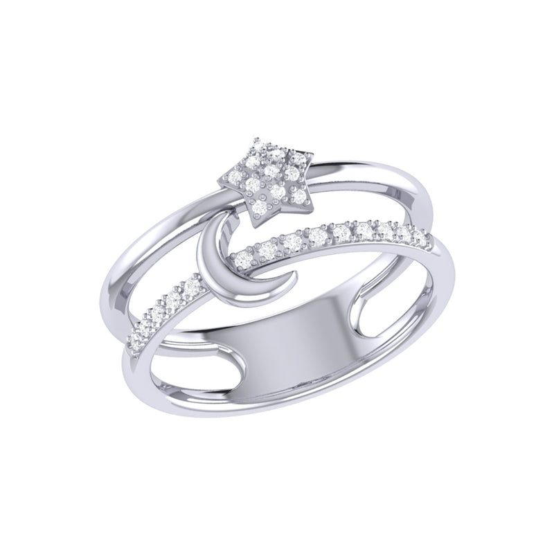 Starlit Crescent Double Band Diamond Ring in Sterling Silver