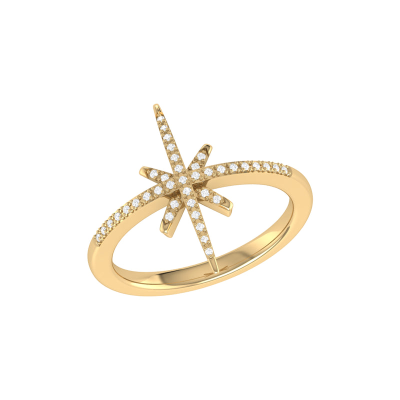 Twinkle Star Diamond Ring in 14K Yellow Gold Vermeil on Sterling Silver