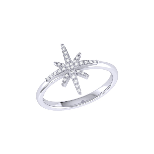 North Star Diamond Ring in Sterling Silver