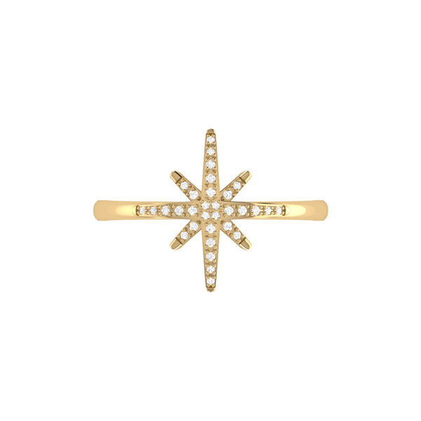 North Star Diamond Ring in 14K Yellow Gold Vermeil on Sterling Silver