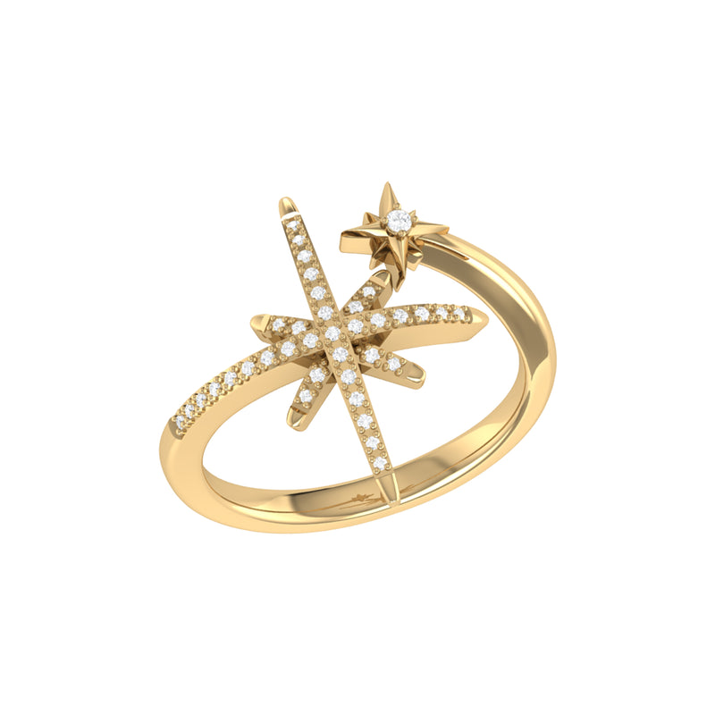 North Star Duo Diamond Ring in 14K Yellow Gold Vermeil on Sterling Silver