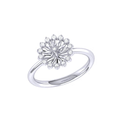 Starburst Diamond Ring in Sterling Silver