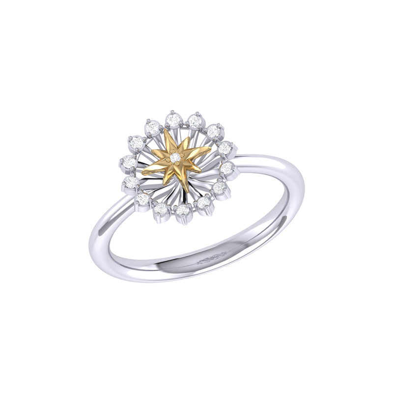 Starburst Two-Tone Diamond Ring in 14K Yellow Gold Vermeil on Sterling Silver