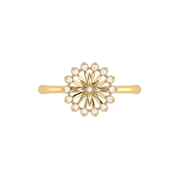 Starburst Diamond Ring in 14K Yellow Gold Vermeil on Sterling Silver