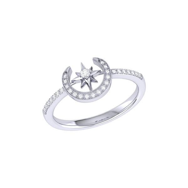 Crescent North Star Diamond Ring in Sterling Silver