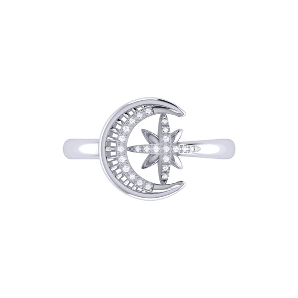 Moon-Cradled Star Diamond Ring in Sterling Silver