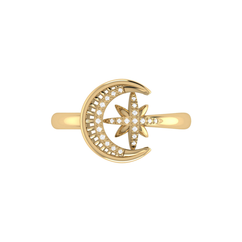 Moon-Cradled Star Diamond Ring in 14K Yellow Gold Vermeil on Sterling Silver