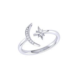 Starlit Moon Diamond Ring in Sterling Silver