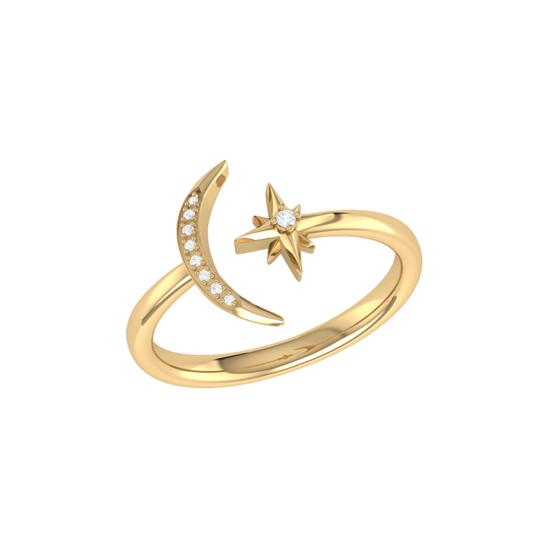 Starlit Moon Diamond Ring in 14K Yellow Gold Vermeil on Sterling Silver