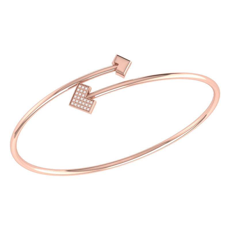 One Way Arrow Adjustable Diamond Bangle in 14K Rose Gold Vermeil on Sterling Silver