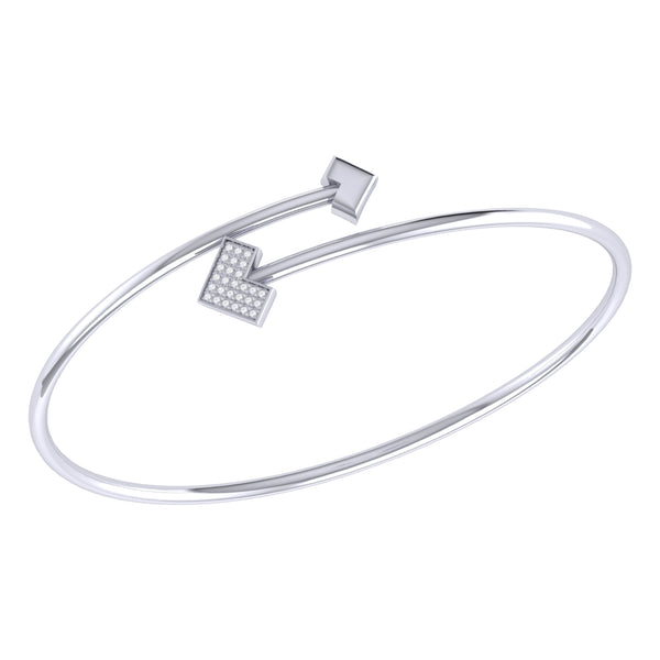 One Way Arrow Adjustable Diamond Bangle in Sterling Silver