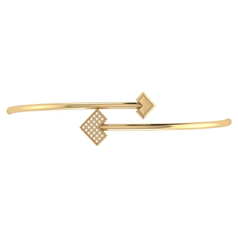 One Way Arrow Adjustable Diamond Bangle in 14K Yellow Gold Vermeil on Sterling Silver
