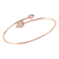 Raindrop Adjustable Diamond Bangle in 14K Rose Gold Vermeil on Sterling Silver