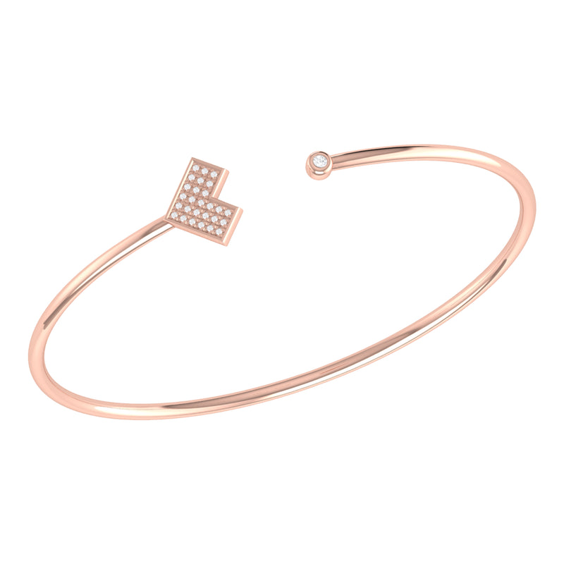 One Way Arrow Adjustable Diamond Cuff in 14K Rose Gold Vermeil on Sterling Silver