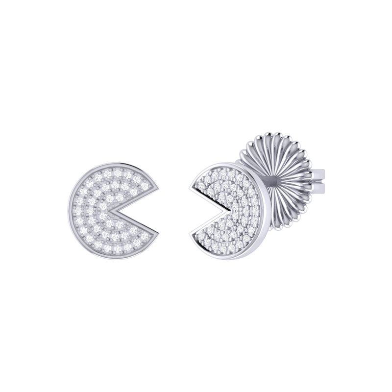 Pac-Man Candy Diamond Earrings in Sterling Silver